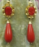 Fabulous Vintage Red coral bomb drop earrings in 18ct gold French fittings